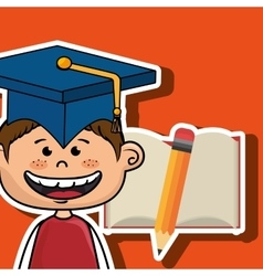 Student boy notebook pencil vector