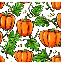 Pumpkin seamless pattern drawing isolated vector