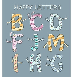 Set of bright cartoon letters with hands on a dark vector image