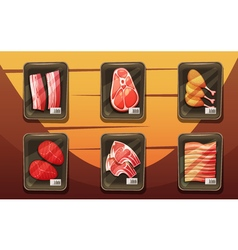 Top view of counter with trays of meat products vector