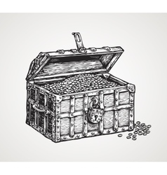 Opened wooden chest with treasures Vintage sketch vector image