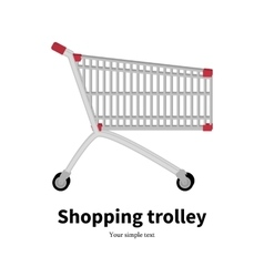 Metal empty shopping trolley vector