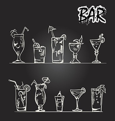 Set of cocktail glasses in the style of chalk on a vector