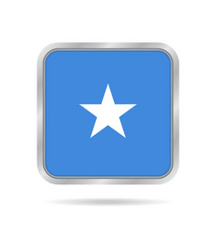 Flag of somalia shiny metallic gray square button vector