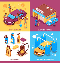 car wash isometric design concept vector image