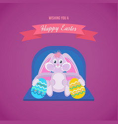 Cute hare keeps beautifully decorated eggs vector