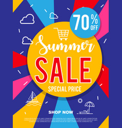 Sale banner on colorful background vector