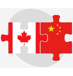 Canada and china flags in puzzle vector