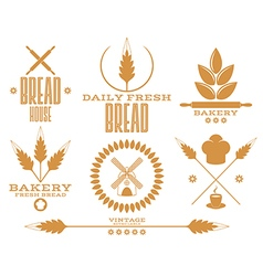 Bakery bread wheat isolated labels on white vector