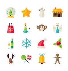 Flat winter christmas and happy new year objects vector