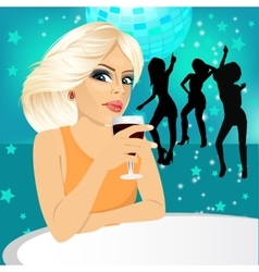 Blonde woman drinking wine vector