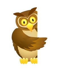 Owl with blank sign vector