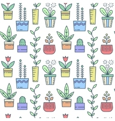 Line house plants pattern vector