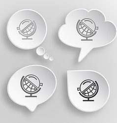 Globe and loupe white flat buttons on gray vector