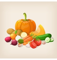 Harvest juicy and ripe vegetables vector