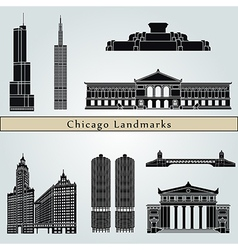 Chicago landmarks and monuments vector