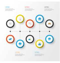 Air flat icons set collection of bow windy vector