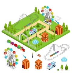 Amusement park isometric view vector