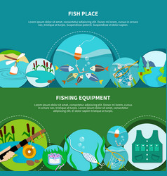 angling gear banners collection vector image