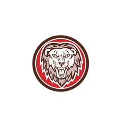 Angry lion head roar circle retro vector