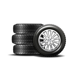 car tires isolated on white background vector image