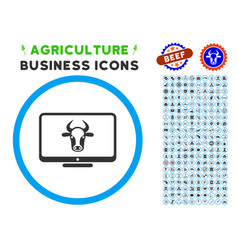 Cattle monitor rounded icon with set vector