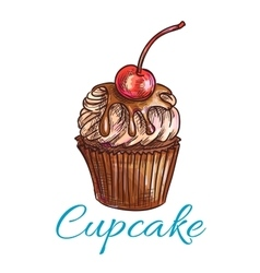 Chocolate cupcake with cream and cherry sketch vector