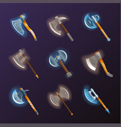 Fantasy medieval axes set vector
