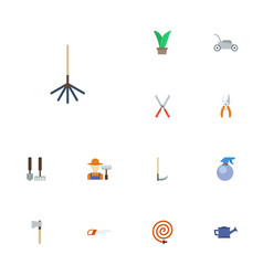Flat icons plant tools lawn mower and other vector