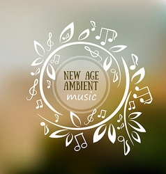 Frame with leaves and notes - music vector