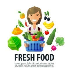 fresh food logo design template fruiterer vector image