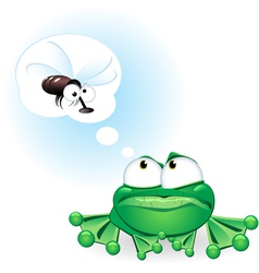frog with fly cartoon vector image vector image