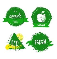 Han drawn farm fresh organic food label badge or vector image