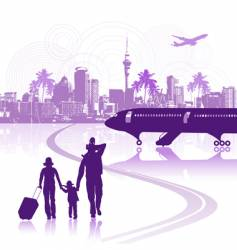 happy family in airport cityscape vector image vector image