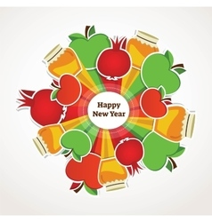 Happy rosh hashanah jewish holiday apples vector