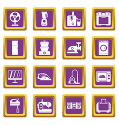 household appliances icons set purple vector image