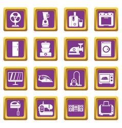 household appliances icons set purple vector image