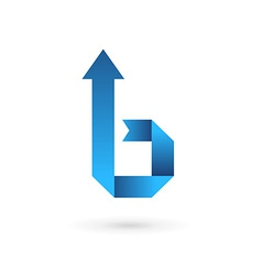 Letter b ribbon arrow logo icon design template vector