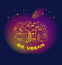 line style vegetable inscription go vegan vector image