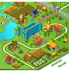 Medieval village and castle vector