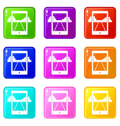 Mobile gaming icons 9 set vector