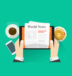 newspaper on tablet flat vector image vector image