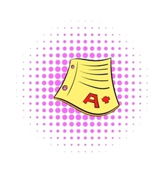 Perfect grade on a paper test icon comics style vector image
