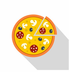 Pizza with mushrooms salami and olives icon vector