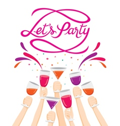 Raised Hands With Drinks Champagne Glasses vector image