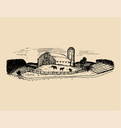 Sketch of village barn fields and silo vector