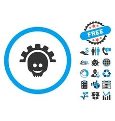 Skull gear smile flat icon with bonus vector