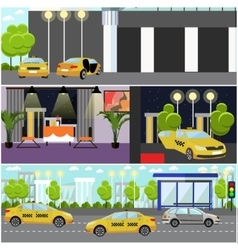 Taxi service company concept banner Yellow vector image vector image