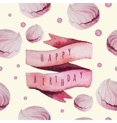Watercolor happy birthday set with sweets vector