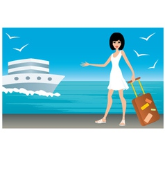 Woman with a suitcase on landing stage vector